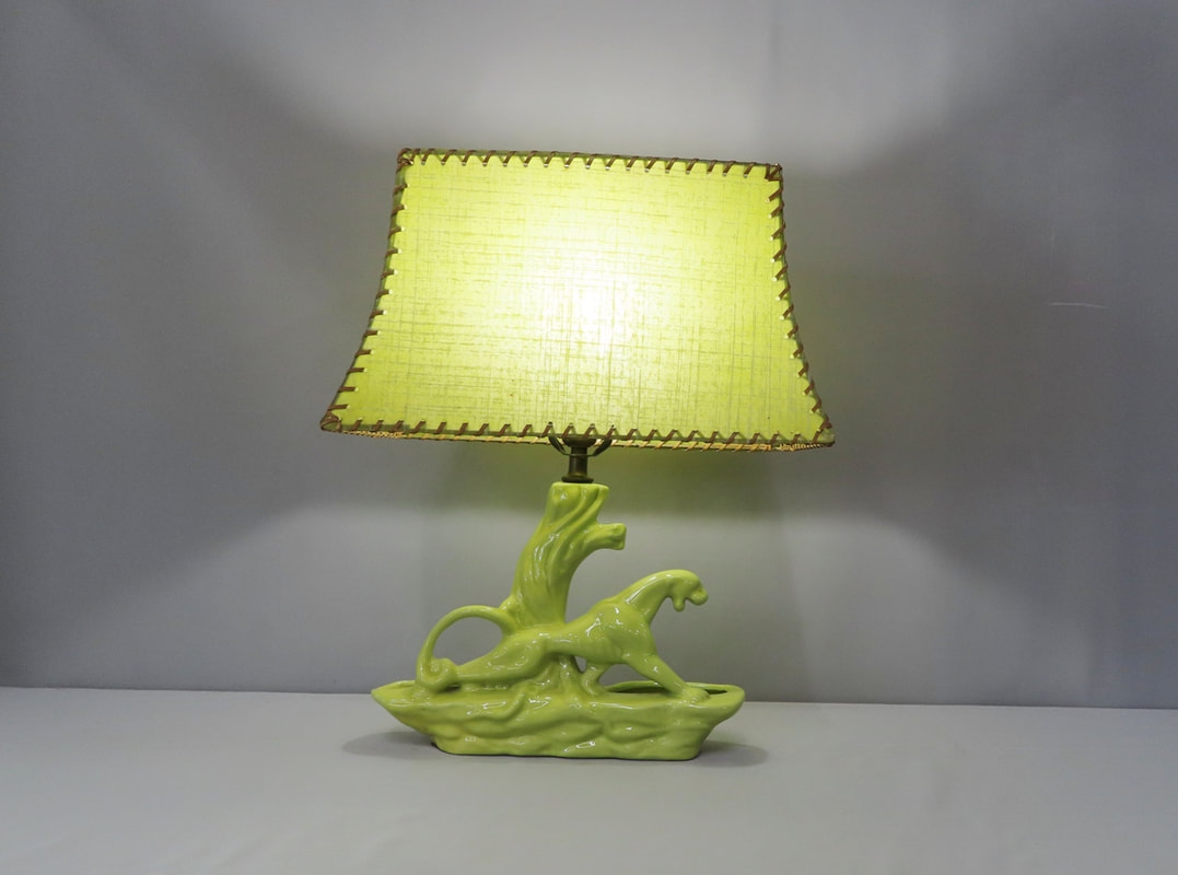 Chartreuse panther lamp