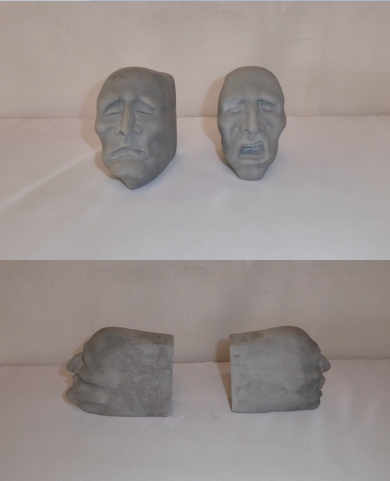 Male Stone Heads Bookends