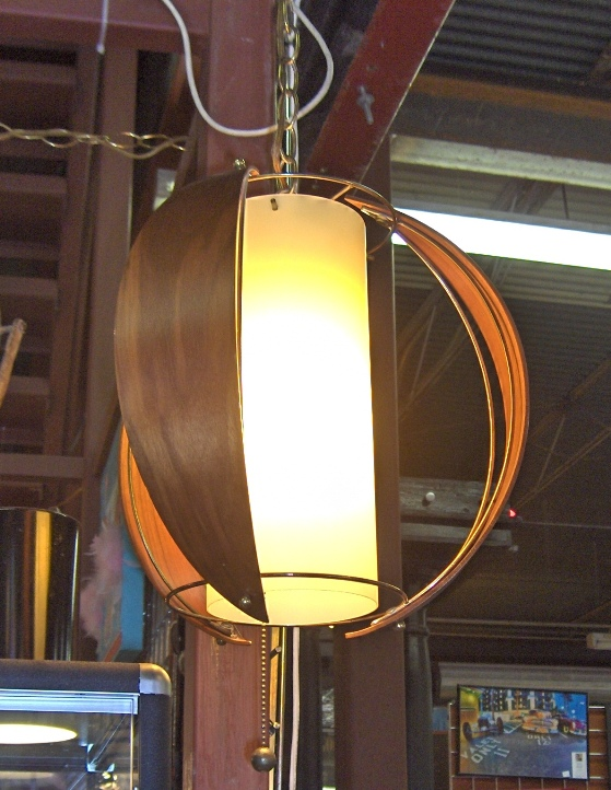 Danish Wood Brass Lamp