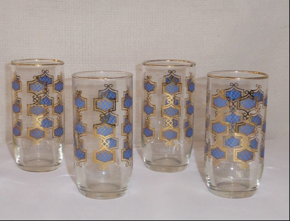 Blue & Gold Juice Glasses