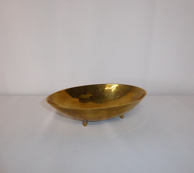 Footed Brass Oval Bowl