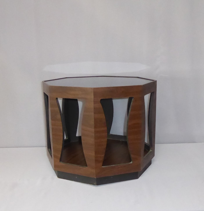 Glass-Top Octagon End Table