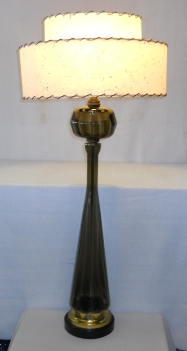 Tall Smoke Glass Lamp