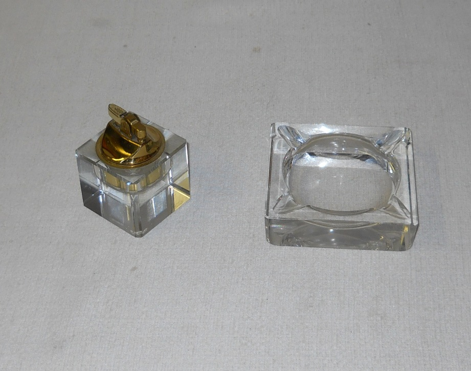 Crystal Ashtray & Lighter
