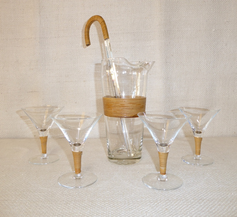 Rattan-Wrapped Martini Set