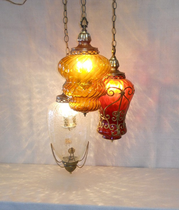 Mixed Art Glass Swag Lamp