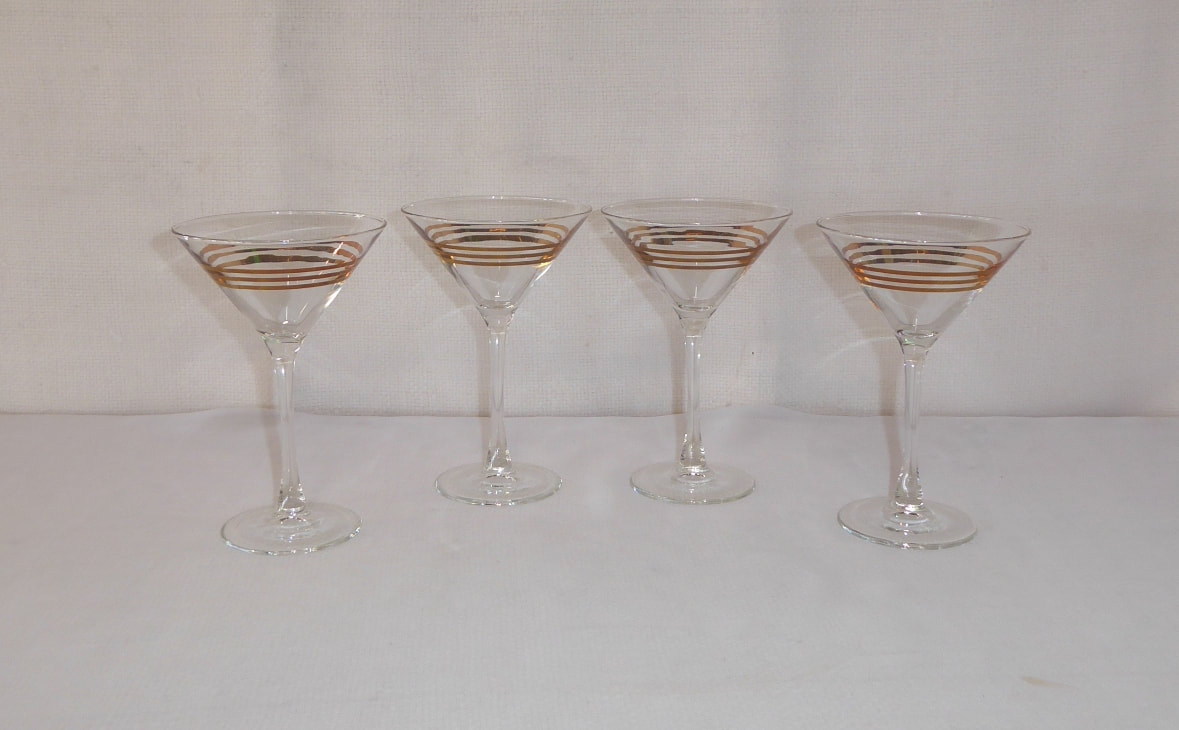 Triple Gold Ring Martini Glass