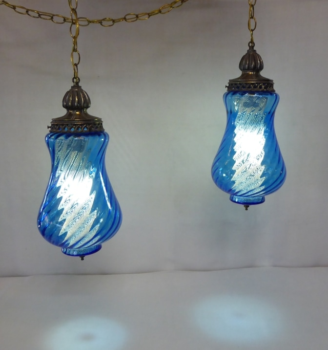 Blue Art Glass Swag Lamps