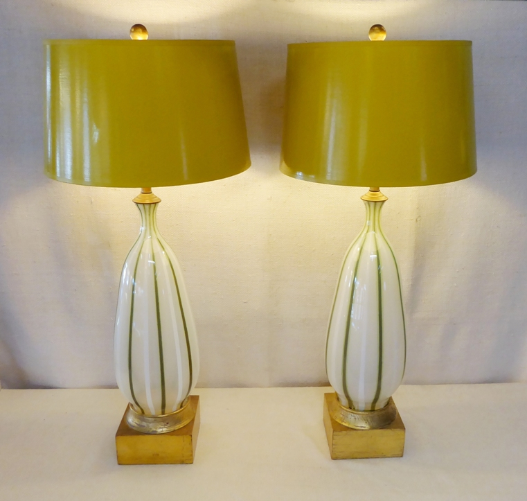 pair art glass table lamps