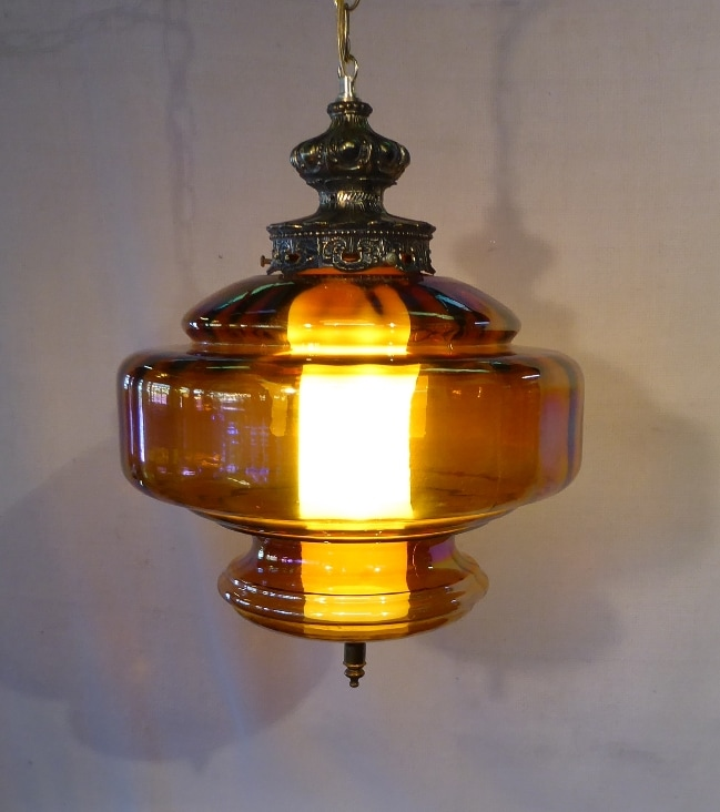 Amber Glass Swag Lamp
