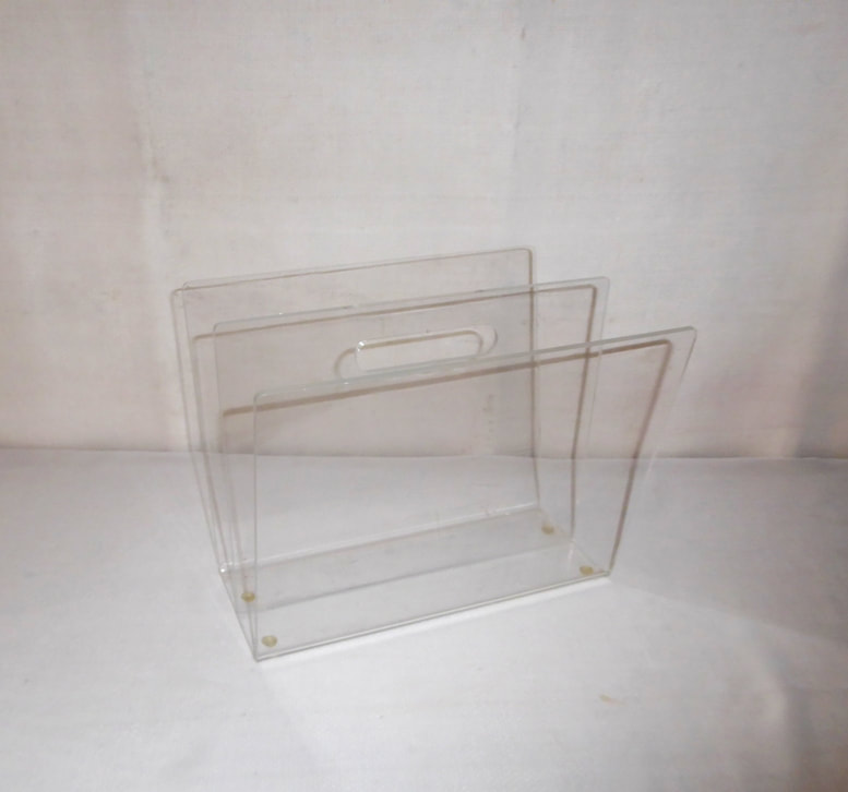 Clear Lucite Magazine Rack