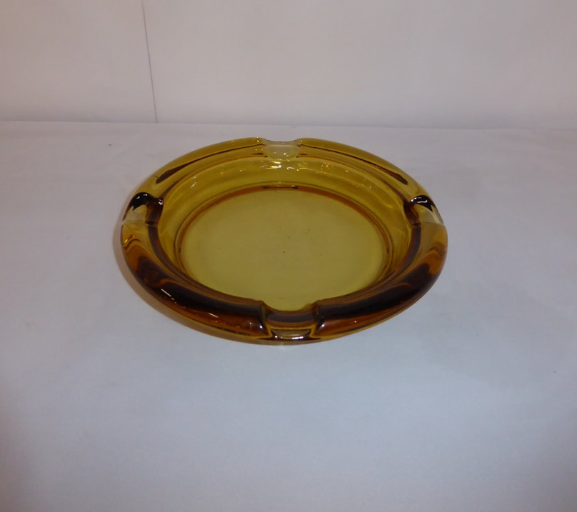 Amber Glass Cigar Ashtray