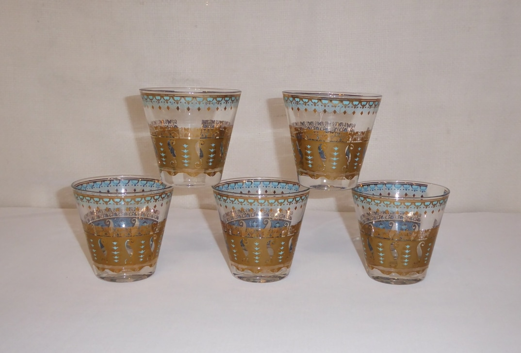 Culver Gold & Rocks Glasses