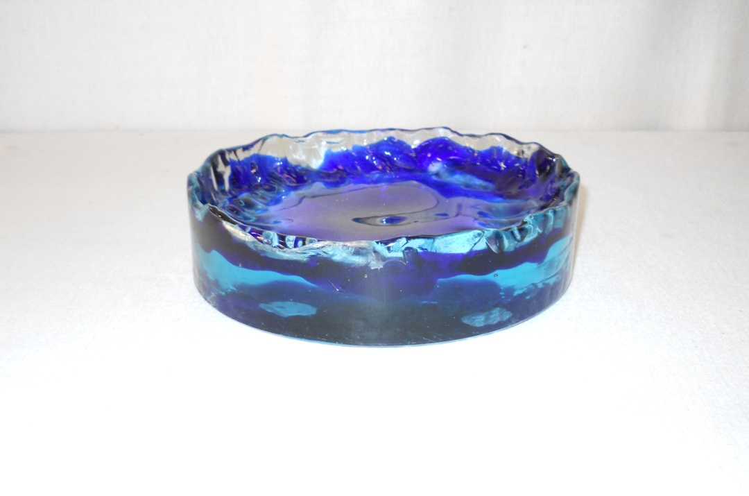 Heavy Blue Glass Ashtray