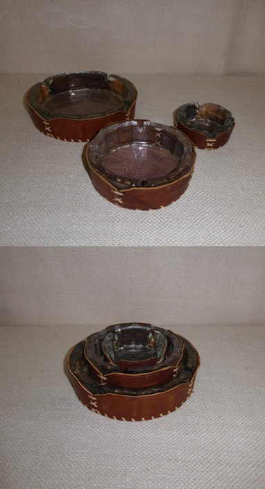Leather Nesting Ashtrays