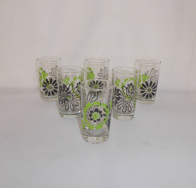 Libbey Flowers Juice Glasses